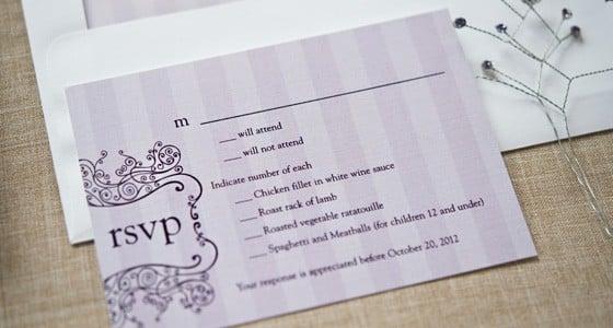 Photo of paper wedding rsvp