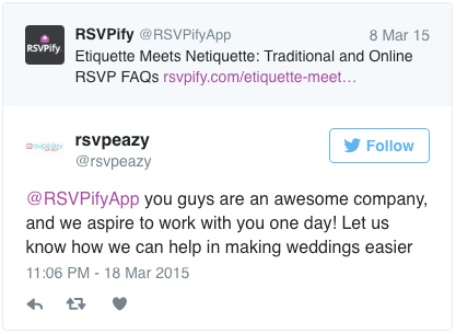 @RSVPifyApp you guys are an awesome company, and we aspire to work with you one day! Let us know how we can help in making weddings easier