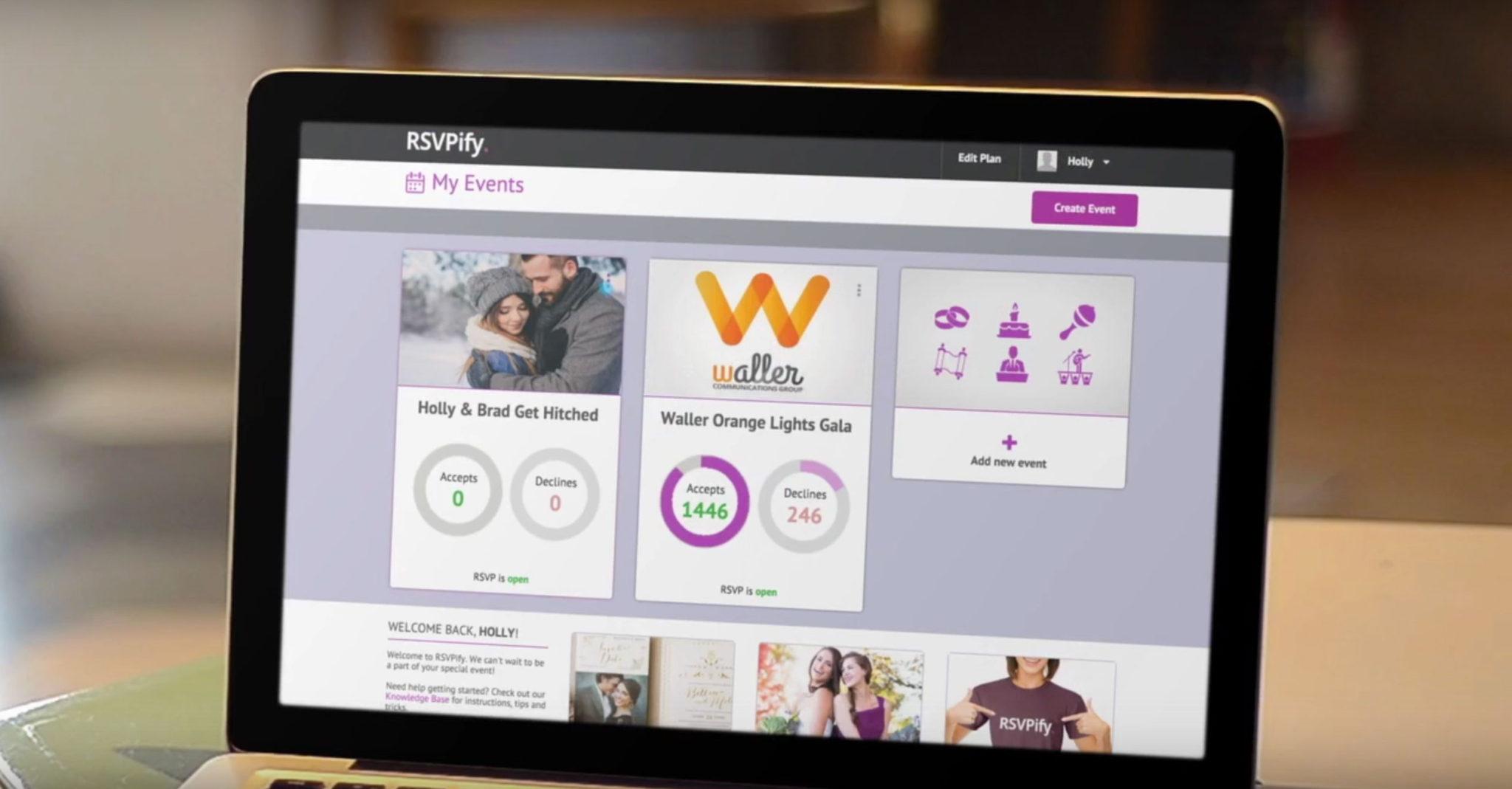 RSVPify's online RSVP dashboard screen