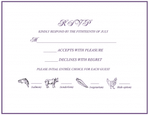 Paper RSVP card showing how to RSVP