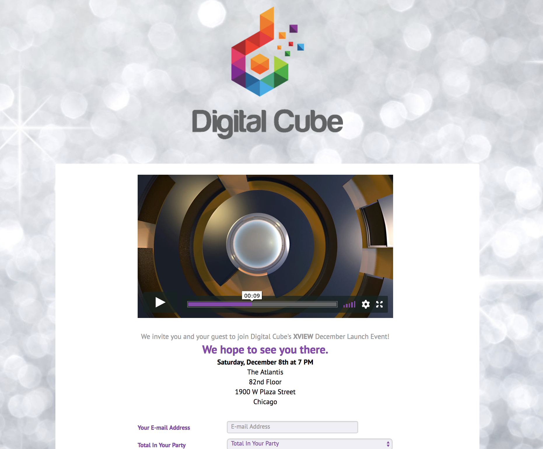 Online RSVP with seamless unbranded video integration