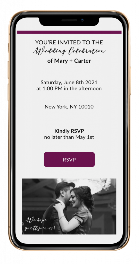 iphone displaying wedding invitation with RSVP button
