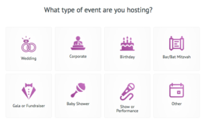 Select the event type that you will be selling tickets for