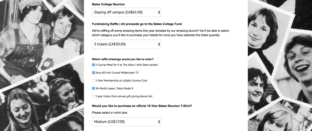 Personalized page to sell tickets online for class reunion with multiple ticket options and raffle options.