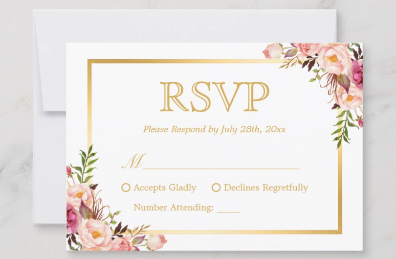 Pink Floral and gold RSVP card example. Gladly Accepts. Regretfully Declines. Number Attending.
