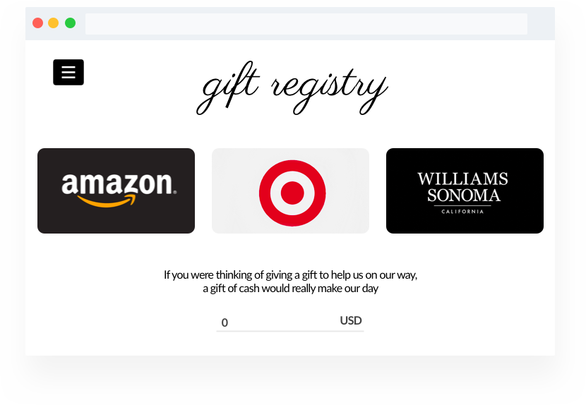 Wedding website builder gift registry page. Links to registry at Amazon, Target, and Williams Sonoma. Or, allow invitees to give a cash gift.