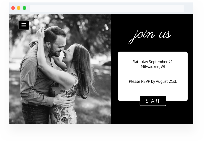 Best wedding website builder with online RSVP example. Embedded RSVP form in wedding website.