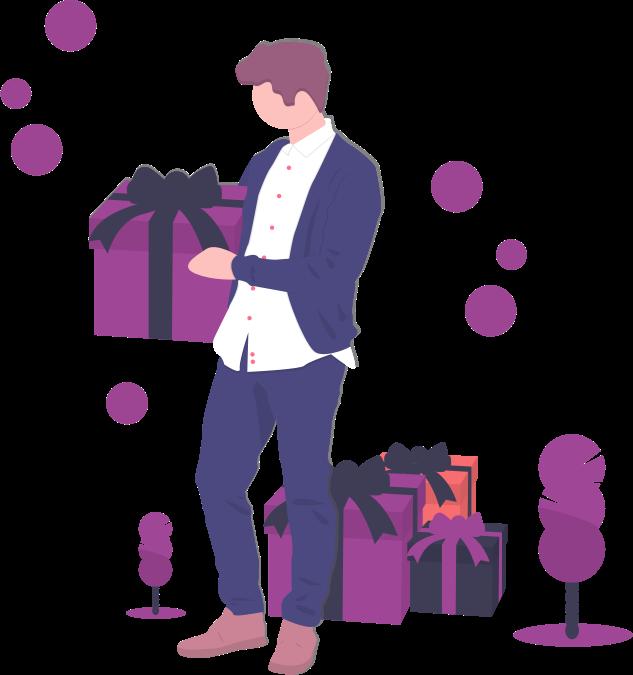 Man holding Christmas gift at company holiday party