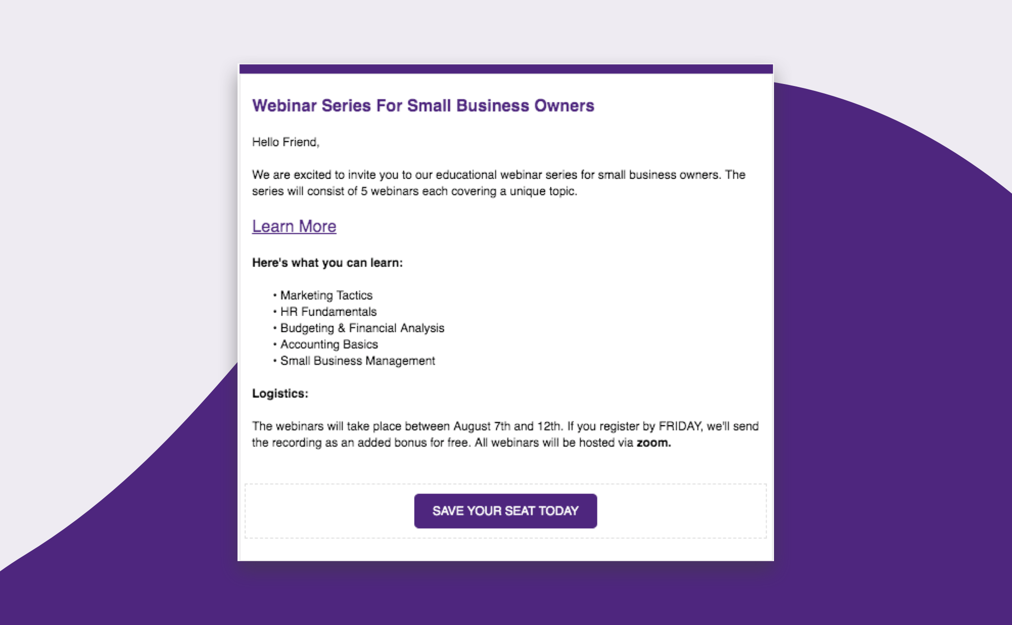 Example of an Email Invitation for Zoom Webinar Series