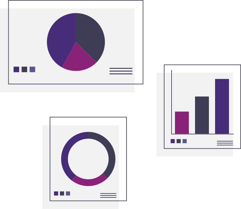 Colorful data charts and graphs