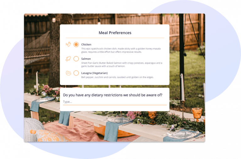 Collect guest meal choices as part of event registration