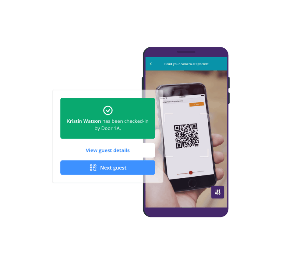 Event check-in app with QR codes