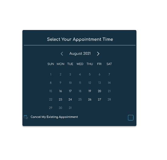 Select vaccination appointment time from a calendar and available time format