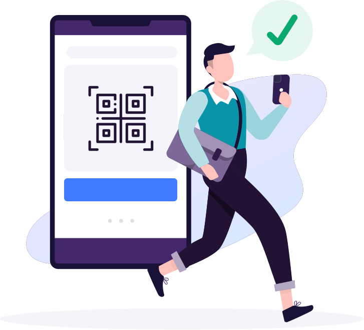 Illustration of man using phone to scan QR code and confirm arrival