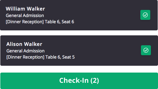 Check-in notification showing attendee what table and seat number they are assigned